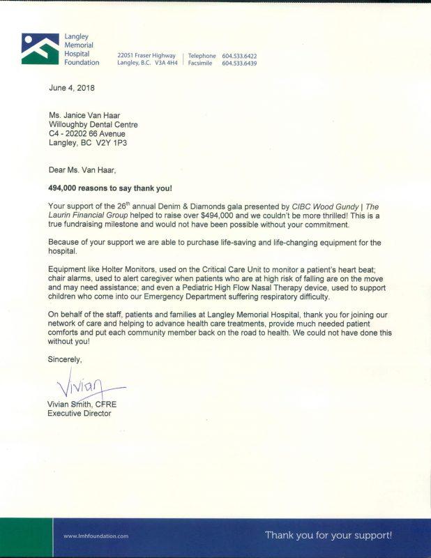Langley Memorial Hospital Donation